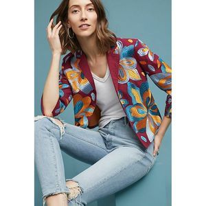New Anthro Boho Floral Embroidered Cropped Jacket